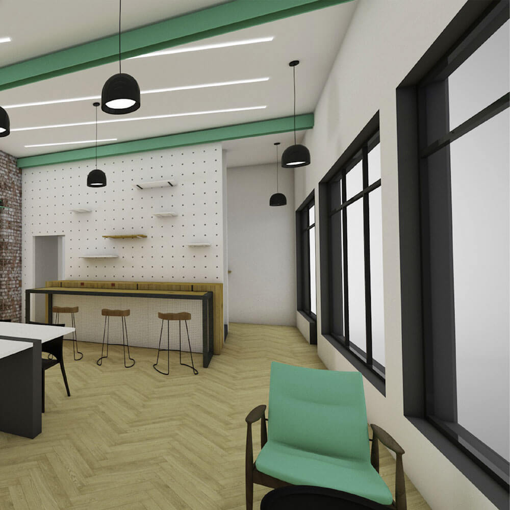 Internal designs for new Coworking environment at SomeBrightSpark