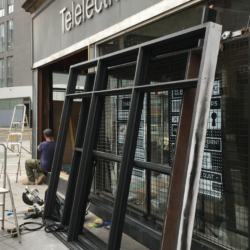 Preparing for new windows at the Cultural Quarter