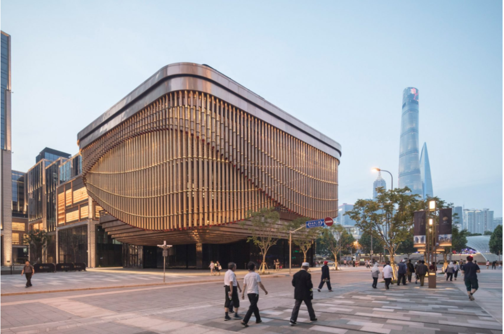 Shanghai's theatre with a curtain-like facade