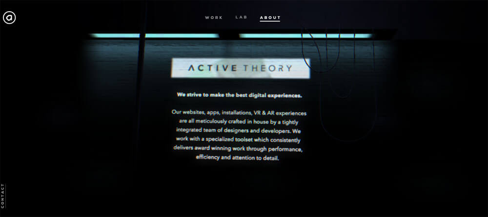 The about us page from active theory webiste. Design inspiration