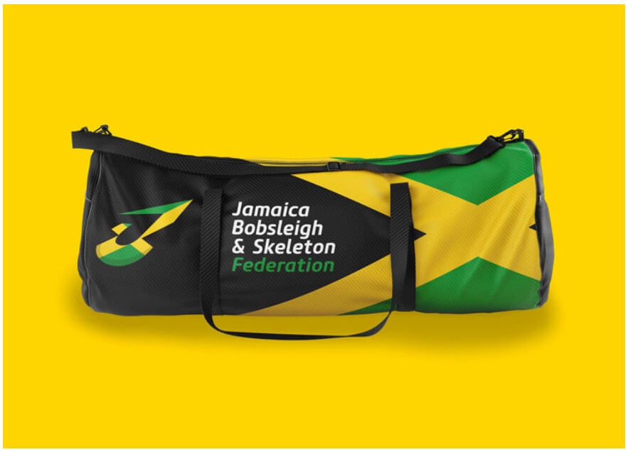 Jamaican bobsleigh team new branding on every touch point